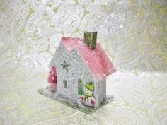 Christmas-Putz-House-Bottle-Brush-Tree-Penguin-NEW-3-5-tall-Christmas-House