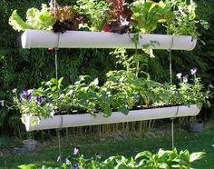 hanging garden from pvc pip halves