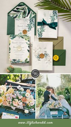 The elegant vellum pocket with personalized initial wax seal holds an invitation that has a beautiful greenery botanical Pattern perfectly placed top a monogram frame that puts all the focus on the wording. Perfect for any season and this is an invitation that is sure to impress.