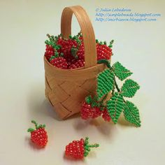 Beaded raspberry in a basket