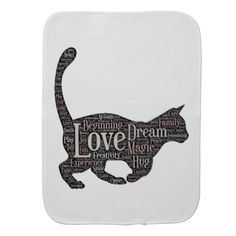 #black - #Cute and inspirational Burp Cloth with black cat