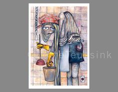 Quirky whimsical art print of oil painting with cleaning lady - unique wall hanging art - fantasy folk pop surrealism children caricature