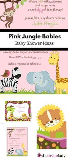 Pink Jungle Babies - Find Baby Shower Stationary for your baby girl mom-to-be. Gender neutral ideas as well! Get more invites, invitations, stationary, cards, Bingo and party games, recipe cards, thank you notes, and more for showers and parties at www.theinvitelady.com.