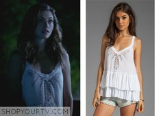 Hayley Marshall (Phoebe Tonkin) wears this embroidered tiered cami in this week's episode of The Originals. It is the Free People Meadow Ballerina Top. Buy it HERE for $78