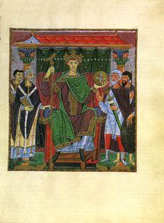 Historia del Arte. Miniatura Otoniana. Gospel Book of Otto III c. 1000 Manuscript (Clm 4453), 334 x 242 mm  Bayerische Staatsbibliothek, Munich