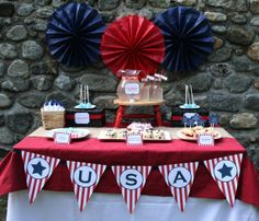Red white blue party decor