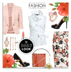 """""""Peep-toe pumps, Ruffle top-Floral skirt"""" by anyasdesigns ❤ liked on Polyvore featuring Karen Millen, Anne Klein, MAC Cosmetics and Michael Kors"""