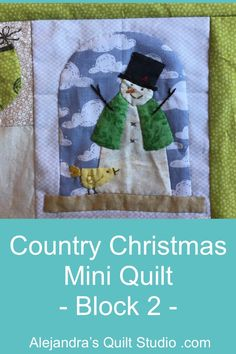Country Christmas Mini Quilt - Block 2 Christmas Minis, Country Christmas, Quilt Blocks, Applique, Lunch Box, Quilt Studio, Embroidery, Quilts, Quilting Ideas