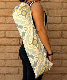 Yoga Mat Bag PRIMROSE handmade in yellow and grayish blue by ChellaBellaDesigns on Etsy