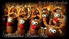 Marshmallow Reindeer Pops Love Chocolate, Marshmallow, Reindeer, Christmas Ornaments, Holiday Decor, Sweet, Home Decor, Marshmallows, Xmas Ornaments