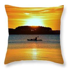 "A Reason to Kayak - Summer Sunset Throw Pillow 14"" x 14"" by William Bartholomew Kayak Accessories, Summer Sunset, Kayaks, Pillow Sale, Fine Art America, Throw Pillows, Random, Prints, Outdoor"