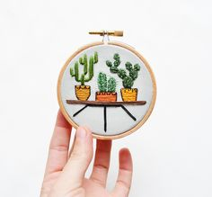 Mini Cactus Trio - 3 inch Hand Stitched Embroidery Hoop Art (36.00 USD) by SarahKBenning