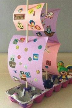 Sailboat egg carton craft