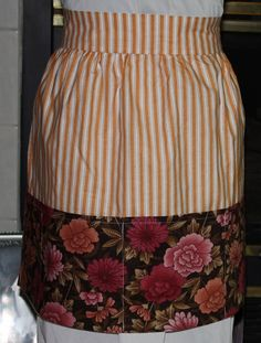 Vintage Half Apron Orange and White Strip by ilovevintagestuff