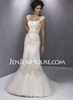 Sheath/Column Sweetheart Court Train Satin  Tulle Wedding Dresses With Lace  Beadwork (002000438)