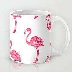 American Flamingo (pink) Mug by The Wallpaper Files - $15.00