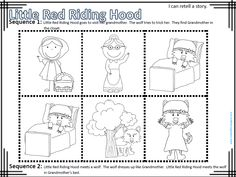 My Idea File: I can retell a story.   Students retell fairy tales using sequence strips and flip books. Two story sequences are provided for  each fairy tale.