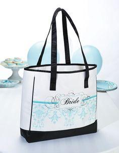 Lillian Rose Bride Tote, by Aqua Bridesmaid Bags, Brides And Bridesmaids, Aqua Wedding, Trendy Wedding, Lillian Rose, Black Bride, Team Bride, Printed Bags, Bridal Gifts