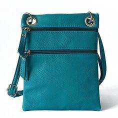 Women Double Zipper Small Hobo Messenger Cross Body Bag PU Leather Shoulder Bag Blue *** Read review @