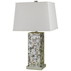 """Candice Olson Abalone Shell Table Lamp $518.91 Abalone shell base.  Chrome accents.  White linen hardback shade.  From designer Candice Olson.  Takes one 150 watt 3-way bulb (not included).  27"""" high.  21"""" square shade."""