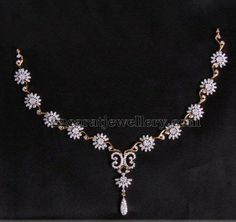 Jewellery Designs: Delicate and Fancy Floral Diamond Set Jewellery Designs: Delicate and Fancy Floral Diamond Set Diamond Necklace Simple, Diamond Pendant, Diamond Jewelry, Gold Jewelry, Daisy Jewellery, Fashion Jewellery, Bridal Necklace, Wedding Jewelry, Glamour