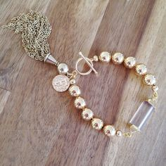 Frances - gold dipped clear quartz crystal beaded bracelet with tassel