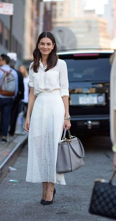 To try the sheer trend pair a long sheer skirt with a button down. Avoid having too much going on by keeping it monochrome.