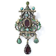 Antique Austro-Hungarian Silver, Garnet, Turquoise and Enamel Brooch - 50-1-2862 - Lang Antiques
