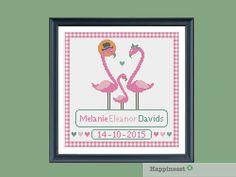 cross stitch baby birth sampler, birth announcement, flamingo, baby girl, DIY…