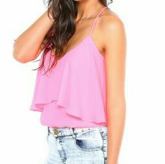 NWOT  Floral tank top Brand new, pink floral top a double layer Chupchick Tops Tank Tops
