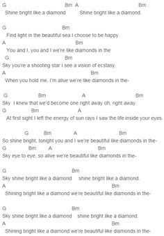 Rihanna Diamonds Chords