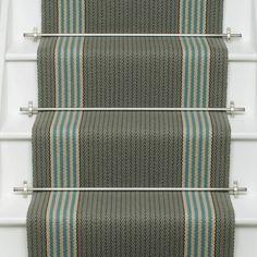 Stair Rods For Carpet Runners Key: 8680691734 Edwardian Hallway, Cottage Hallway, Stair Rods, Green Carpet, Carpet Stairs, Staircase Design, Carpet Runner, Fixer Upper, Blue Green