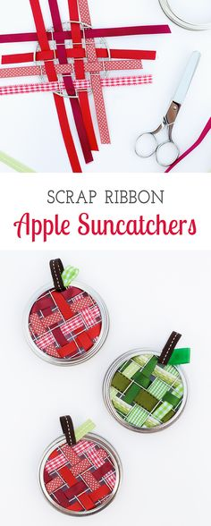 Celebrate apple season with colorful Scrap Ribbon Apple Suncatchers. They are…