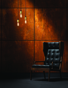 Simplicity in design is key! Corten Steel adds an additional layer of warmth to the interior aesthetic! Metallic Decor, Concrete Interiors, Rusted Metal, Industrial Interiors, Wall Finishes, Interior Decorating, Interior Design, Steel Wall, Interior Walls