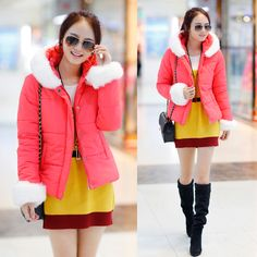 Free Shipping New Winter Female's Thick Warm Down Cotton Padded Jacket Womens Short Coat Long Sleeve Parkas Faux Fur Collar Hood