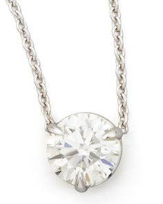 18k White Gold Diamond Solitaire Pendant Necklace by NM Diamond at Neiman Marcus.