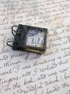 Soldered Stained Glass Miniature Journal Collage Art Book --No.2 #jewelry #craft #pendant $40