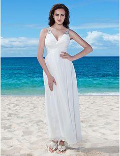 Lan Ting Sheath/Column Plus Sizes Wedding Dress - Ivory Floor-length V-neck Chiffon - USD $ 79.99