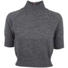 CARVEN 810PU07 810 GREY WOOL MAGLIA (€120) ❤ liked on Polyvore featuring tops, sweaters, shirts, blusas, crop tops, gray shirt, crop top, wool sweaters, grey cropped sweater and collared shirt
