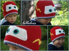 Crochet Lightning McQueen hat pattern by Mari-Liis Lille Crochet Car, Crochet Kids Hats, Crochet Beanie Hat, Cute Crochet, Crochet Crafts, Crochet Character Hats, Lightening Mcqueen, Crochet Patterns, Crochet Ideas
