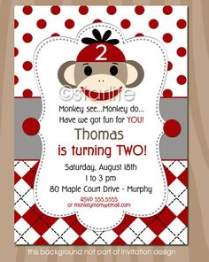 Sock Monkey Birthday Party Invitation - Red Gray Black - 1st 2nd birthday - any age - boy or girl - PRINTABLE INVITATION DESIGN on Etsy, $20.00