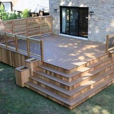 Patio Deck Design - wide stairs, privacy fencing on sides #outdoor #deck #ideas