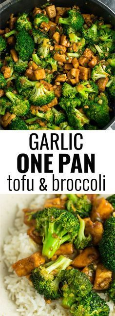 Garlic tofu broccoli skillet recipe made in just one pan. A healthy alternative to takeout in a rich garlicky sauce with fresh broccoli. #vegan #tofu #broccoli #garlicsauce #onepan #healthy