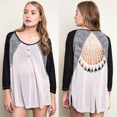 """""""Plethora"""" Crochet Back Baseball Top Crochet back baseball tee in all over colorblock. Available in blue/pink or tan/black. This listing is for the TAN/BLACK. Brand new. Runs large. NO TRADES DON'T ASK. Bare Anthology Tops Tees - Long Sleeve"""