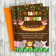 Bebé ducha Safari invitación, invitación de Safari, bebé ducha invita, invitación imprimible, invitar a Safari, bebé ducha partido de Safari