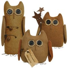 Birds of a Feather Owls, 3/set - Kruenpeeper Creek Country Gifts