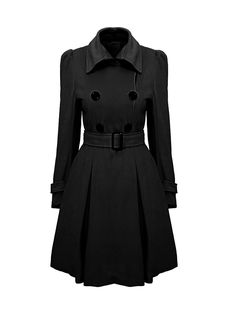 Lapel Plain Removable Tie Double Breasted Coat