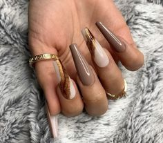 Brown Acrylic Nails, Acrylic Nail Set, Coffin Nails Matte, Best Acrylic Nails, Brown Nails, Black Nails, Stiletto Nails, Fabulous Nails, Gorgeous Nails