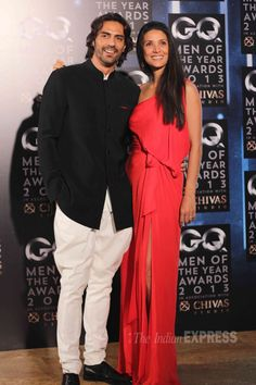Arjun Rampal looked his dashing self as he smiled for pictures along with his beautiful model-wife Mehr at GQ Men of the Year Awards. #Bollywood #Fashion #Style #Beauty