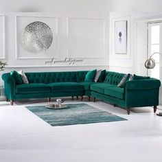 Provide your living room with a dramatic centrepiece with the Livi Green Velvet Corner Sofa, a generously-sized choice that is capable of accommodating as many as 4 people over the length of two sofas. Corner Sofa Living Room, Living Room Sofa Design, Living Room Green, New Living Room, Living Room Sets, Living Room Designs, Living Room Decor, Green Living Room Furniture, Corner Sofa Design